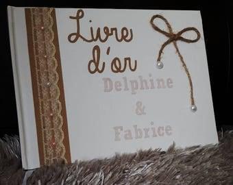 Kraft Wedding guest book / lace