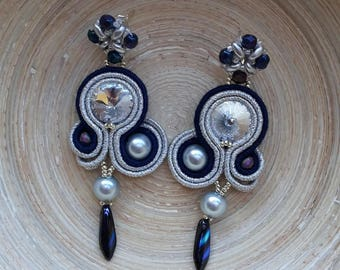 Earrings blue silver with Crystal button