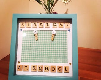 First Day At School Scrabble Frame Personalised Frame Back To School Picture Frame