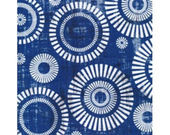 Blue and white 100% cotton patchwork fabric