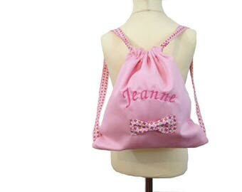 Backpack, pink with a bow and name