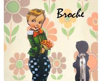 """Wooden brooch small Retro """"Hector"""""""