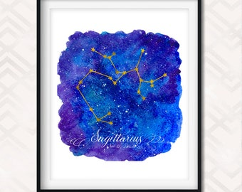 Sagittarius Constellation Print - Sagittarius Art - Printable Sagittarius - Constellation Art Print - Sagittarius Sign - Sagittarius Poster