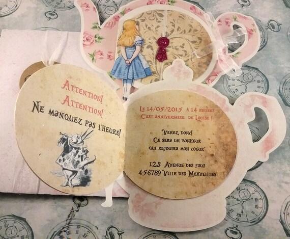 Fabulous Faire-part Alice in wonderland Alice au pays des merveilles UI34