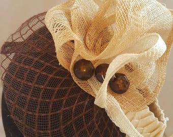 fascinator hats Brown and ecru elastic