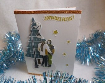 Greeting card, Christmas, happy holidays card, couple under the tree