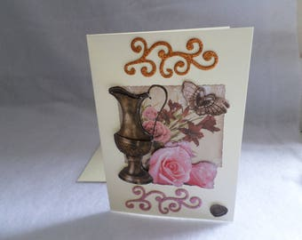 """Card for various occasions """"pot of roses"""""""