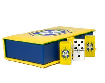 Soccer Brazil Domino 100% Acrylic, Faux Leather Case