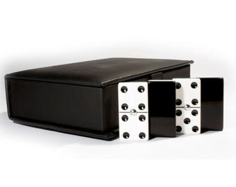 Jumbo Domino Double Six, 2 Coats: Black - White 100% Acrylic. Faux Leather Case