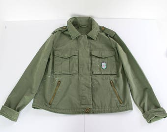 Military Green Patched Jean Jacket