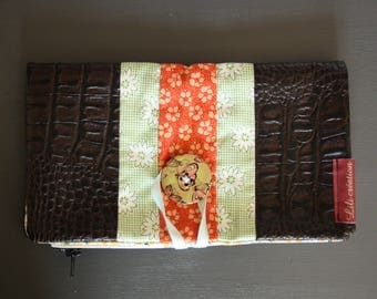 Floral wallet in Brown imitation crocodile leather and cotton