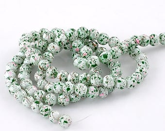 Round beads spotted Green diameter 8 cm