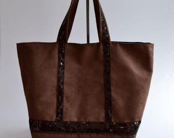 Tote brown suede glitter handmade @lacouturebytitia women's fashion