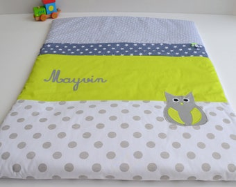 Personalized Plaid baby blanket handmade OWL polka dot grey and lime green @lacouturebytitia stars