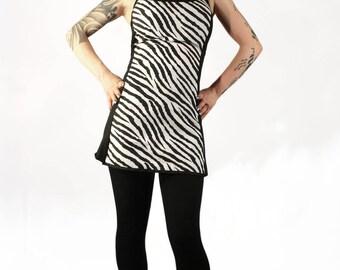 printed 10's backless dress Zebra 'blink 'up' pine' up rock clothing