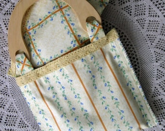 Bag with wooden handles + cotton purse