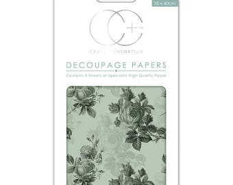 Paper patch (3 sheets) Blue Roses - CCDECP010