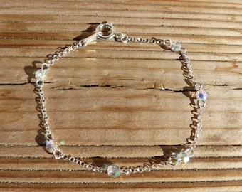 Sterling silver bracelet 925 Silver Chain swarovski iridescent crystal beads