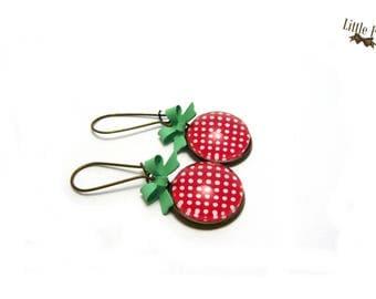 Raspberry mint retro glass dome earrings
