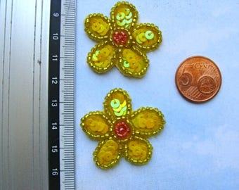Glitter yellow flowers