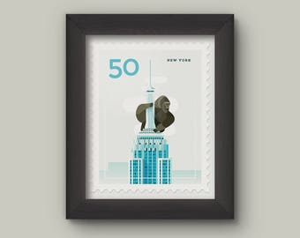 Mini Art Print - Stamp / New York