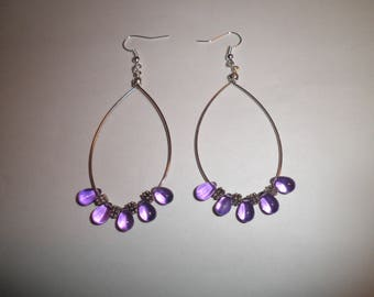 00242 - Hoop earrings with mauve and silver beads