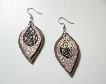 Earrings light brown leather and golden light and timeless