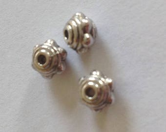 Set of 50 beads Bicone silver metal
