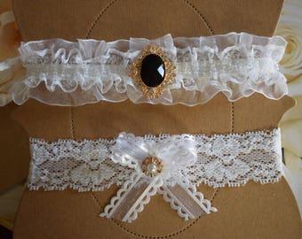 Black And White Wedding Garter Set Gold Bridal Belt Lace