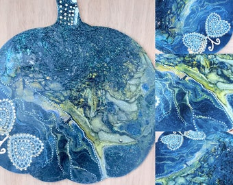 "Contemporary, unique, fluid wall art hand-painted wood pumpkin: ""A Starry Night"""