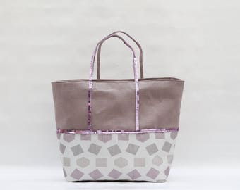 The bag in linen - cotton purple bi-color print and purple square/diamond with sequins