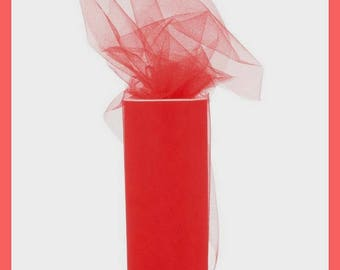 Tulle - Color red - 15 cm wide x 20 meters - new