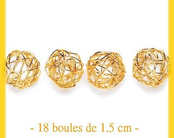 Set of 18 beautiful golden wire of 1.5 cm balls - new