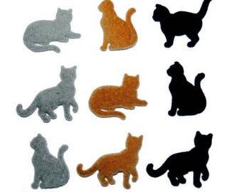 Decorative button - pets - cats x 9 pcs of about 2 cm felt.