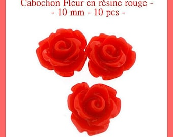Resin flower cabochon Red - 10 mm - 10 pcs - new