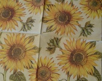 "Beautiful ""Sunflower"" 1 NAPKIN"