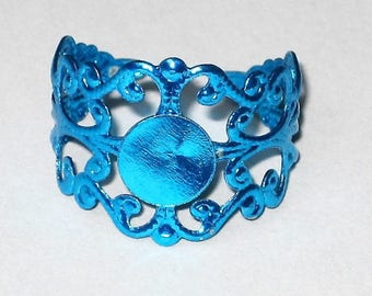 a support ring filigree blue adjustable 2cm