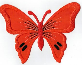 Orange Butterfly embroidered iron or sew patch. Applique Patch 13 x 9.5 cm