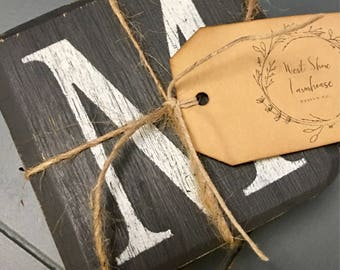 Distressed, Chalkboard Style Coaster Set! Hand painted with Fusion Mineral Paint!