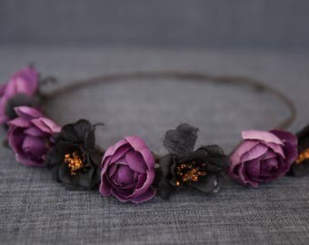 Dark Purple Flower Crown