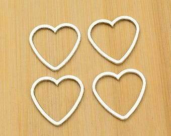 set of 4 large hearts perforated perforated metal