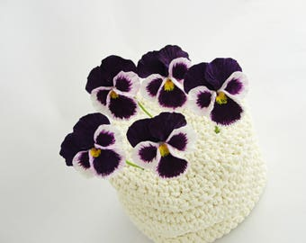 Dark Purple Pansy, Pansy, flower with wire, stem flower, handmade flower, clay flower, pansy flower, flower supply