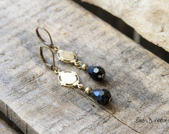 Minimalist art deco prints black and raw brass earrings