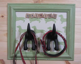 Dog print lead hook, personalised, handmade is best, leash hanger, storage dog lover gift, home wall interior decor