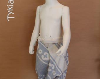Harem pants unisex blue and ecru - 3 years