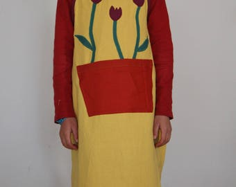 Kitchen apron in yellow cotton - unisex - 3 to 12 years