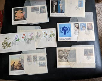 Lot of 7 Different 1979 Greek Post office First Day of Issue Covers unaddressed