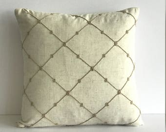 3-Dimentional Throw Pillow Cover with  Knotted Jute Detail Design