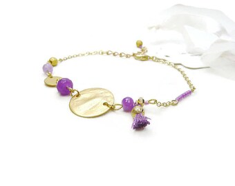 Bracelet simple Bohemian chic in gold, mauve and purple