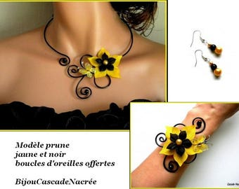 Butterfly yellow black aluminium bead wedding silk flowers bridal set
